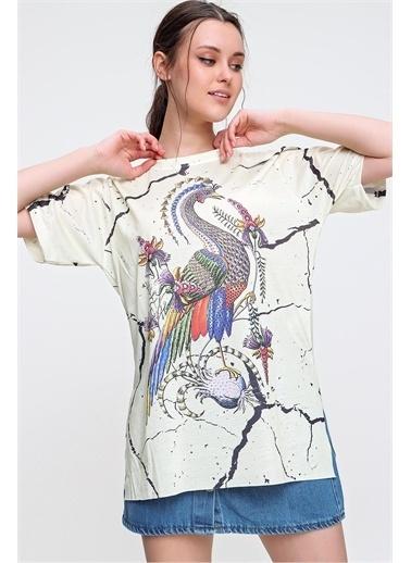 Pink Park Baskılı Yanı Yırtmaçlı Boyfrıend T-Shirt  SMD-1119 Sarı